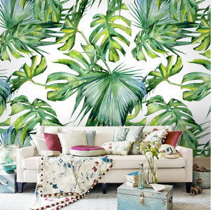 Green Leaf Wallpaper for Living Room