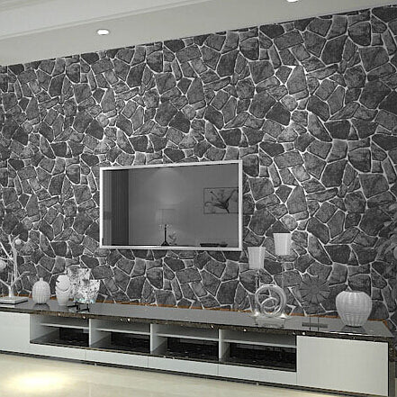 PVC Black 3d Stone Wallpaper For Living Room Bedroom Vinyl Faux Stone