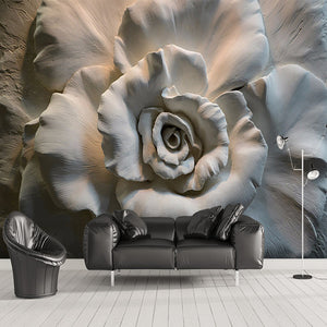 Custom Mural Wallpapers 3D Stereo Relief Rose Flowers Abstract Art