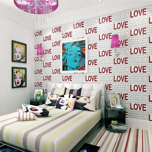 Modern 3D Stereo Foam LOVE Letter Wallpapers Bedroom Living Room