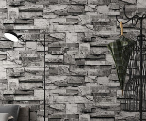 3D simulation stone wallpaper retro stone Home decoration Bedroom