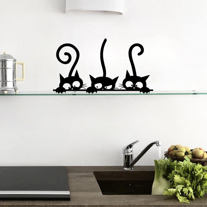 Funny Cat Fridge Stickers Kitchen Wall Home Decor Waterproof Wallpaper