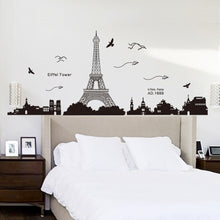 Paris Eiffel Tower Night View Beautiful Romantic Simple Black DIY Decal