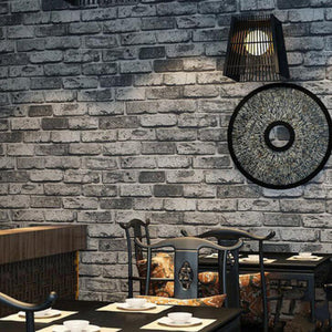 3D PVC Grey Brick Stone Wall Paper Chinese Rustic Vintage Embossed Washable