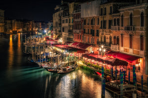 Venice Canal Night Street lights Cities 3D Wallpaper