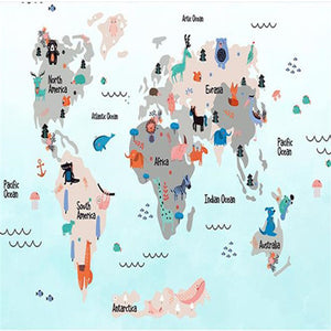 Custom Photo Wall Murals Cartoon Pattern Wallpapers 3D World Map