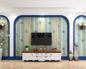 Blue Vertical Stripes Mediterranean style