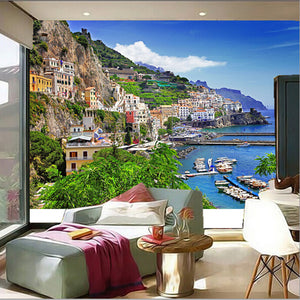 3D Mural Italy Houses Marinas Mountains Positano