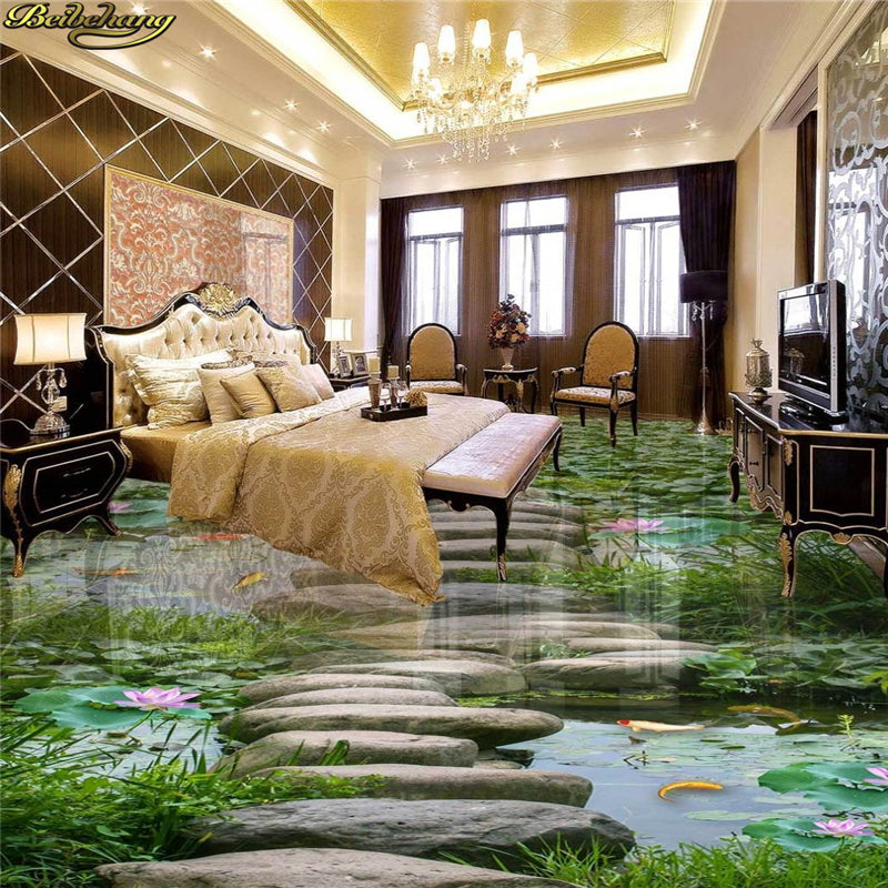 Custom Photo Wallpaper 3D Self-adhesive PVC Floor Painting