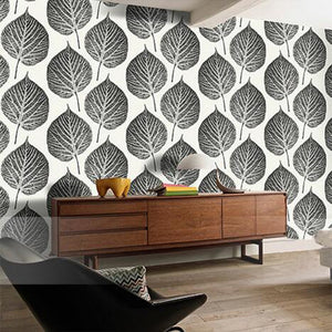 Black and White Big Leaves Art Mural Wallpaper Vinyl
