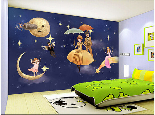 Hand-drawn Star Universe for Children Room