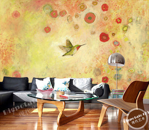 Custom 3D Murals, Lovely Cartoon Flowers and Birds Painting