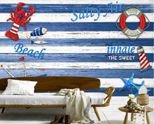 Custom Vintage Wallpaper, Blue Mediterranean Wood Board Sailing Lighthouse