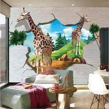 Custom 3D Large Murals, 3D Cartoon Giraffe Wallpaper