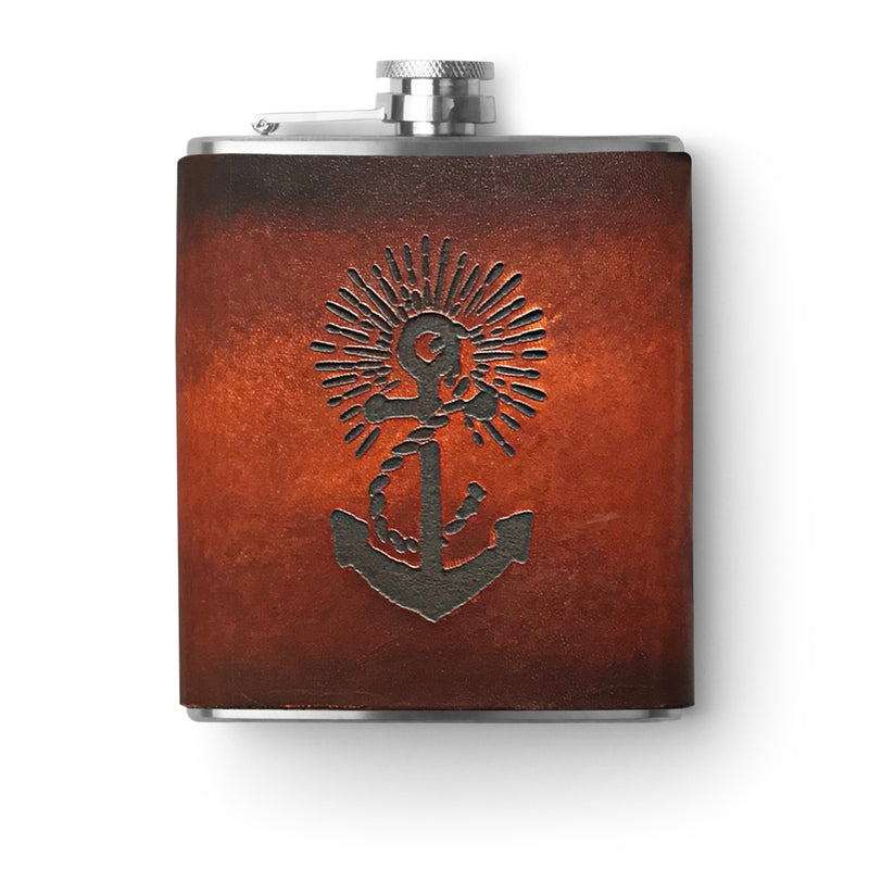 Handmade Leather Flask - 6 oz. - Anchors Aweigh