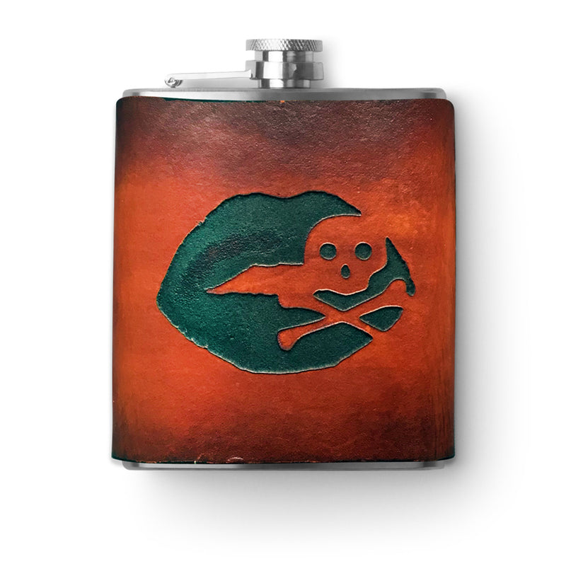 Handmade Leather Flask - 6 oz. - Love is a Rebel