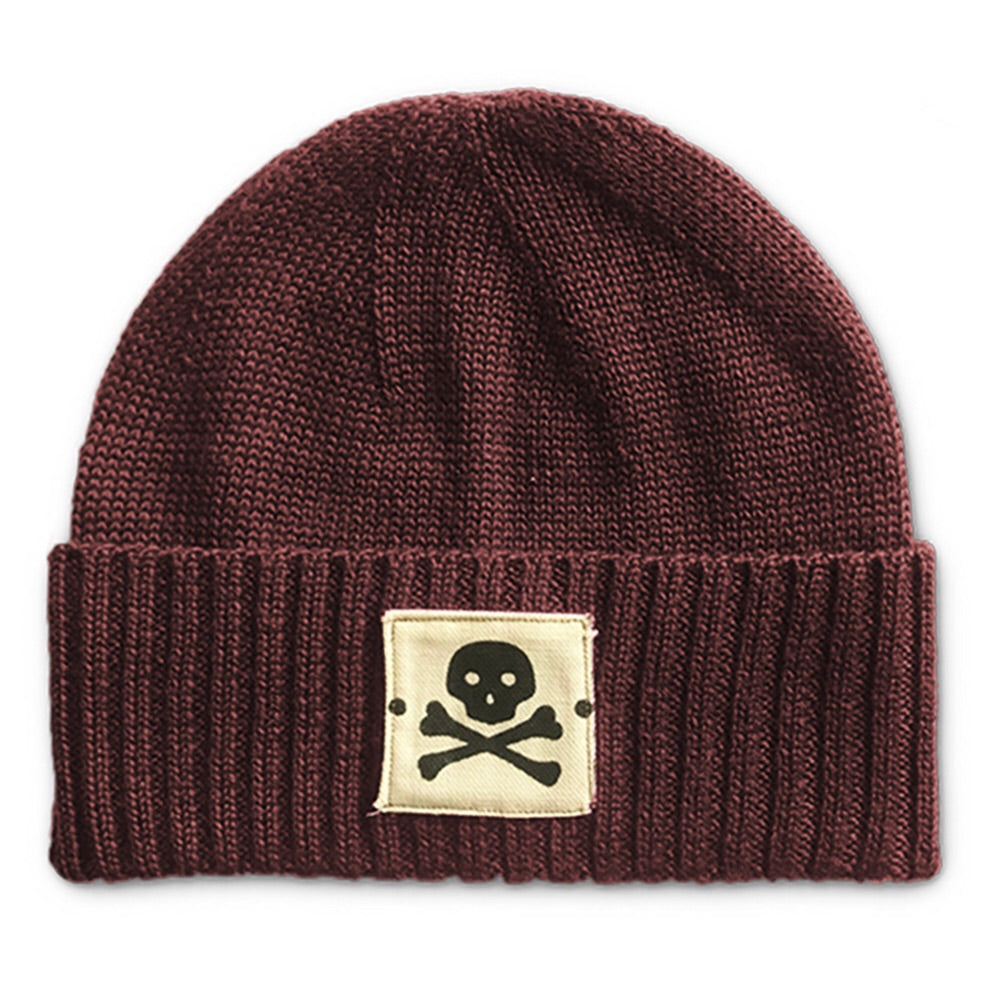 Knit Sailor Cap - Skull & Bones in Wine