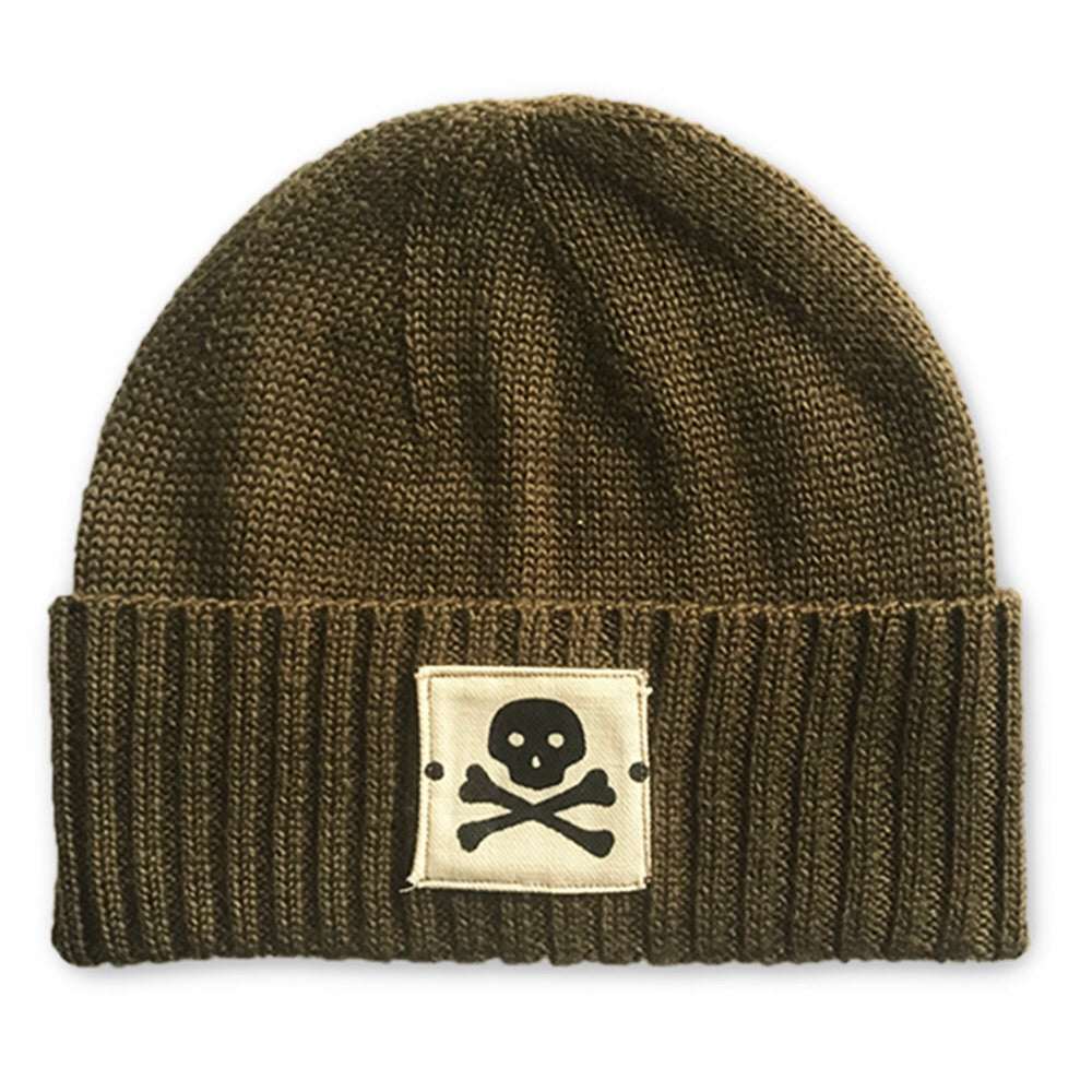 Knit Sailor Cap - Skull & Bones in Expedition Green