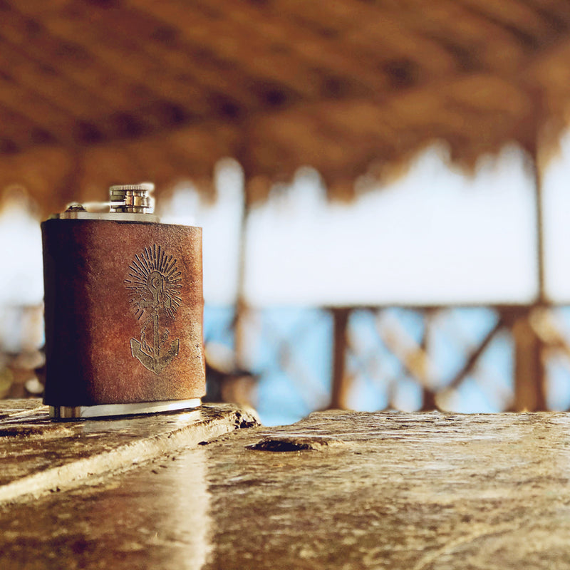Anchors Aweigh - Handmade 6 oz. Leather Flask