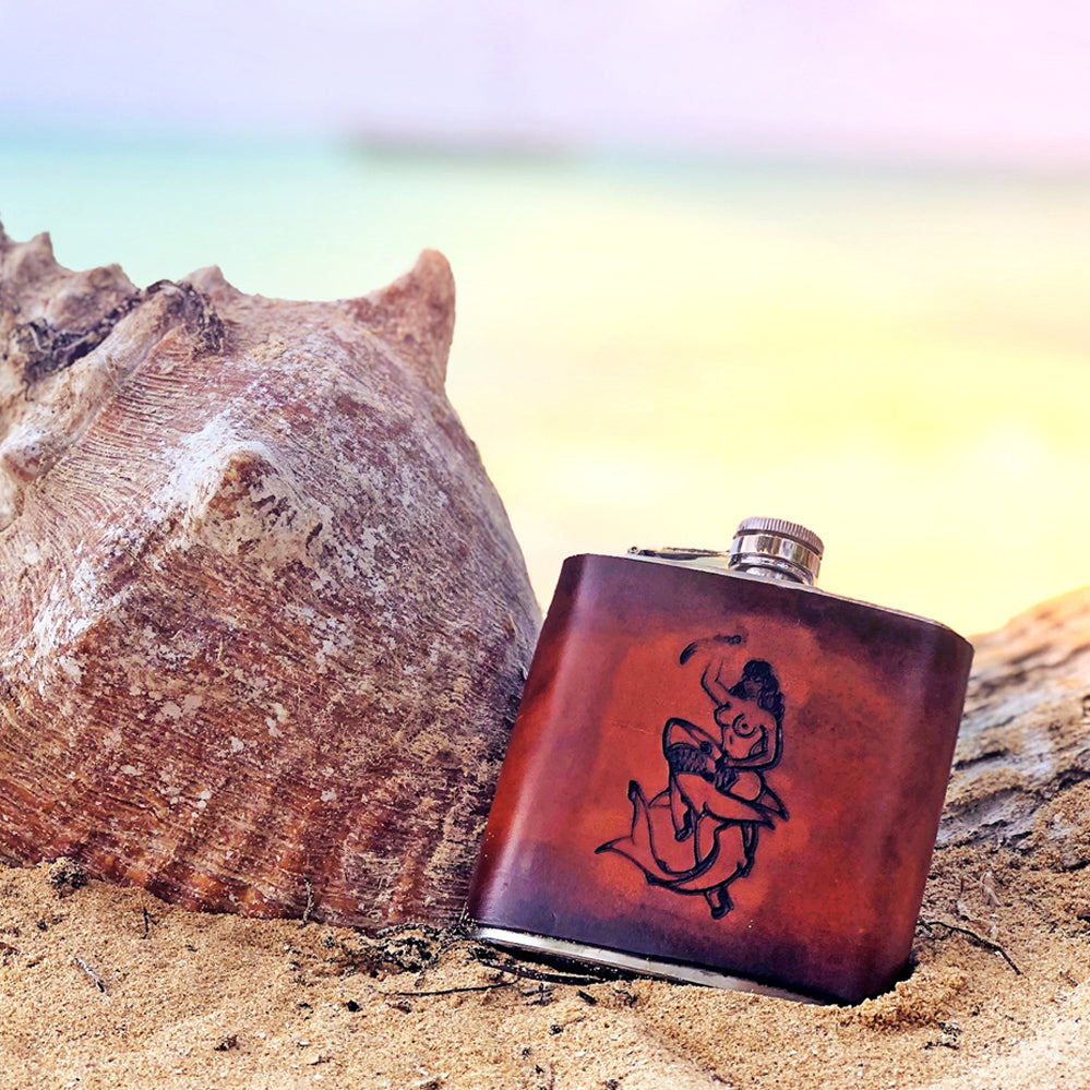 Calypso - Handmade 6 oz. Leather Flask