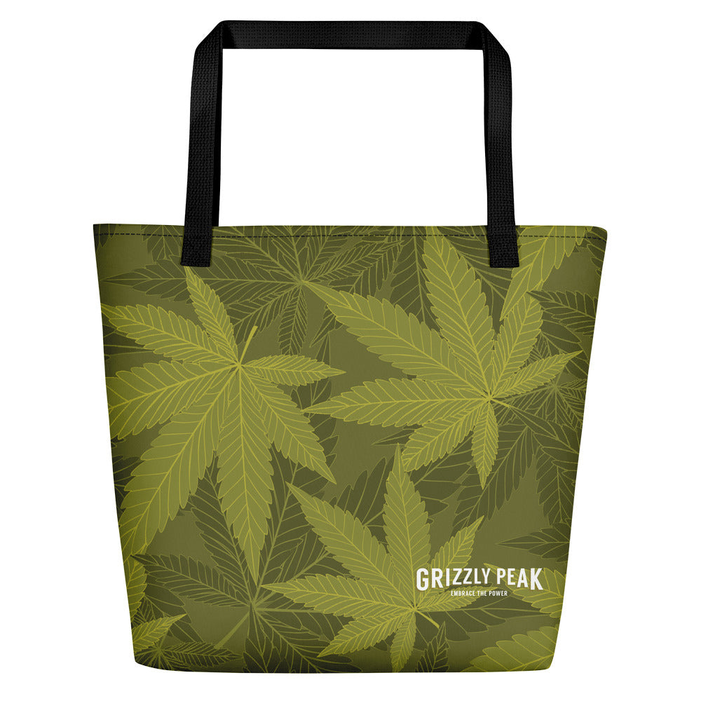 GP Green Flower Pattern Beach Bag