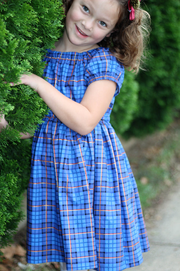 Peasant Dress - Classic Blue Plaid