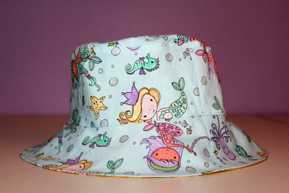 Reversible Sun Hat - Mermaid 6-12mths