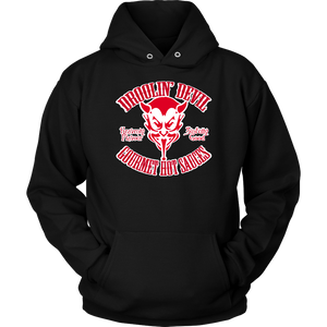 Hoodie/Red on white tribal logo