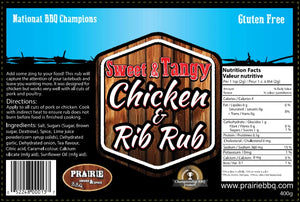 Prairie Smoke and Spice Sweet and Tangy Chicken and Rib Rub 400 g/14 oz.
