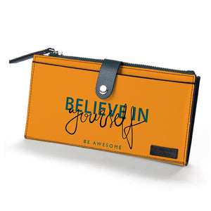 Be Your Awesome Self Green Vegan Fold Wallet