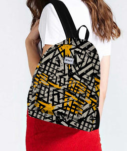Coal Patterns Black Designer Backpack