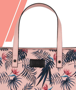 Danger Leaf Pink Top Handle Bag Medium - Roucy