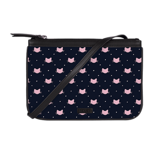 Dotted Kitty Jade Black Dual Zip Classic Sling - Roucy