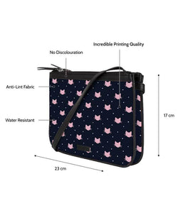 Dotted Kitty Jade Black Dual Zip Classic Sling