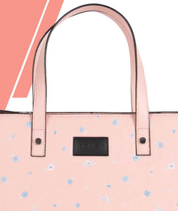 Polka Dotted Flowers Pink Top Handle Bag Medium - Roucy
