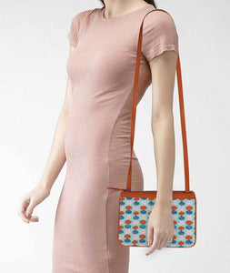 Poppy Pie Art Tan Dual Zip Classic Sling - Roucy