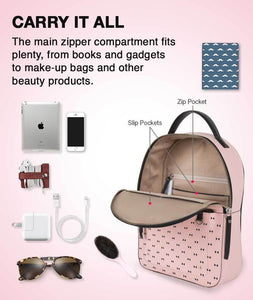 Tiny Bow Pink Round Backpack Bag - Roucy