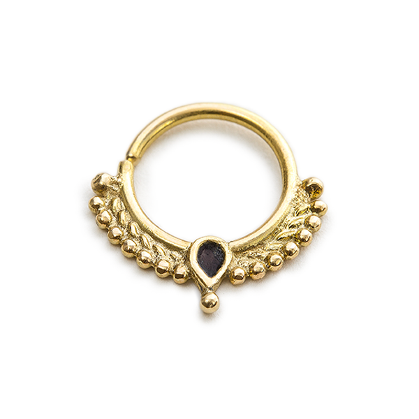 14k Gold with Black Enamel Septum Hoop Nose Jewelry - Veronica