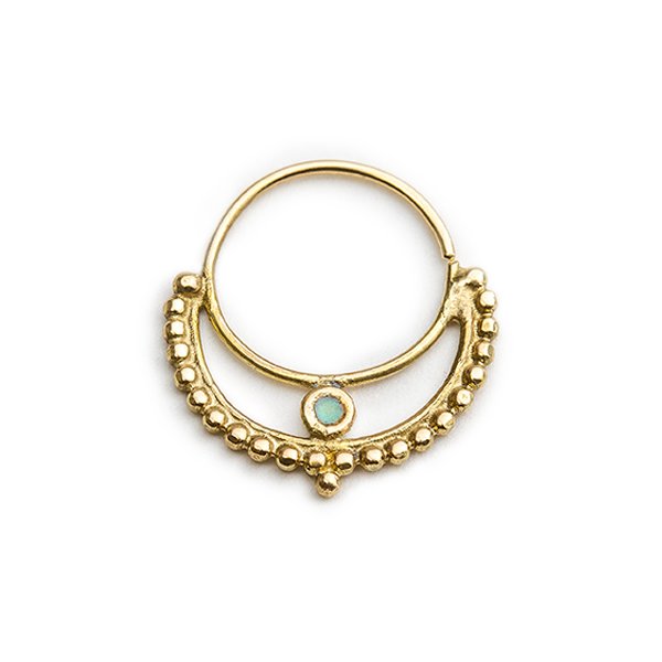 14k Gold And Enamel Crafted Septum Nose Ring Jewelry - Luna