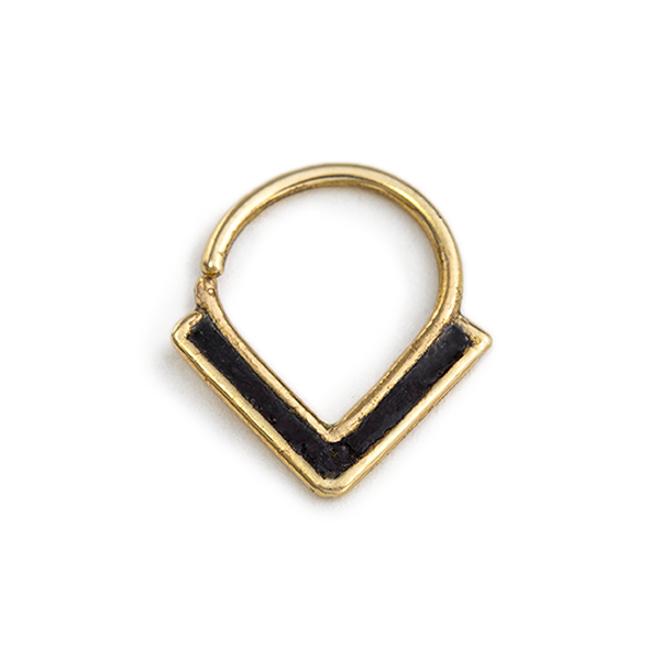 14k Gold And Black Enamel Gothic Septum Nose Jewelry - Zoe