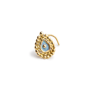 14k Solid Gold and Enamel Indian Style Nose Stud Jewelry - Victoria