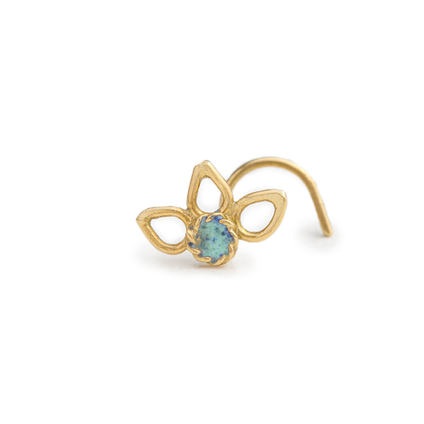 Flower Nose Stud in 14k Gold with Enamel - Lucie