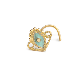 14k Solid Gold with Enamel Tragus Stud Ear Jewelry - Jasmine