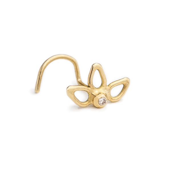14k Gold Flower Nose Stud Ring with Sparkling Diamond Accent - Lucianne