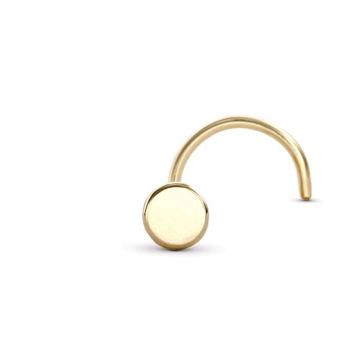 14k Gold Handcrafted Disc Nose Stud - Tina L