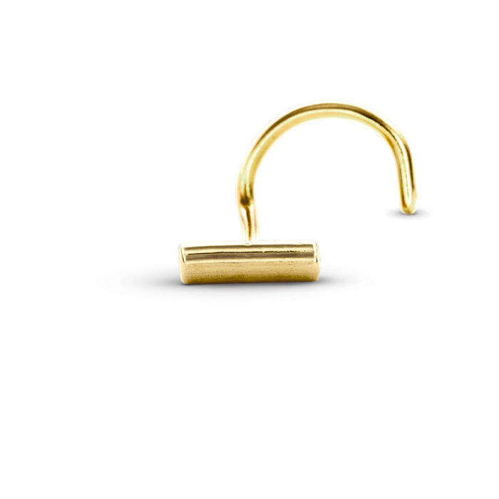 14 K Gold Bar Pierced Nose Stud Jewelry - Bia