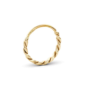 Twisted Nose Piercing Jewelry in Solid 14k Gold - Carla