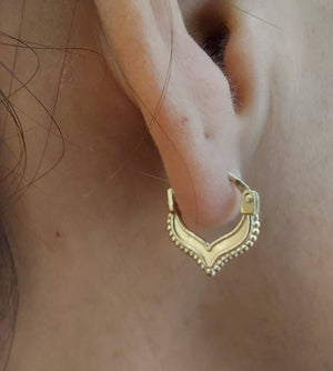 Gold Chevron Clicker Hoop Earrings - Nalu