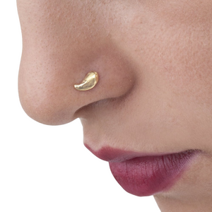 14k Solid Paisley Shaped Gold Nose Stud Jewelry - Pam
