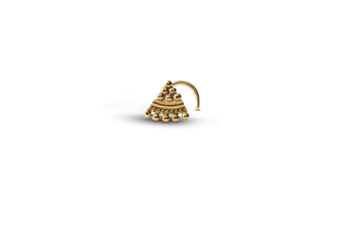 14K Solid Gold Triangular Ethnic Nose Stud - Mid